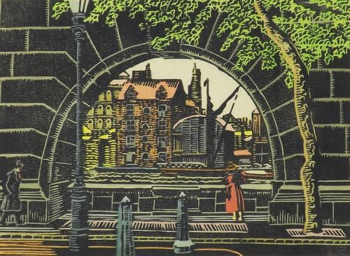 On The Embankment, this 1924 woodcut by Charles Ginner, is up for auction shortly and a very nice thing it is too. Given that Ginner was London based and a prime mover in the Camden Town School, I'm assuming this is the Thames, but I can't quite...