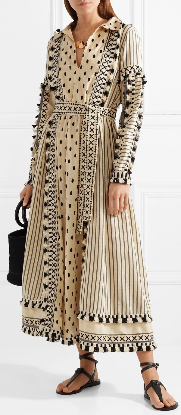 Dodo Bar Or Tasseled Striped Cotton Gauze Midi Dress Dresses Fashion Midi Dress [ 1379 x 601 Pixel ]