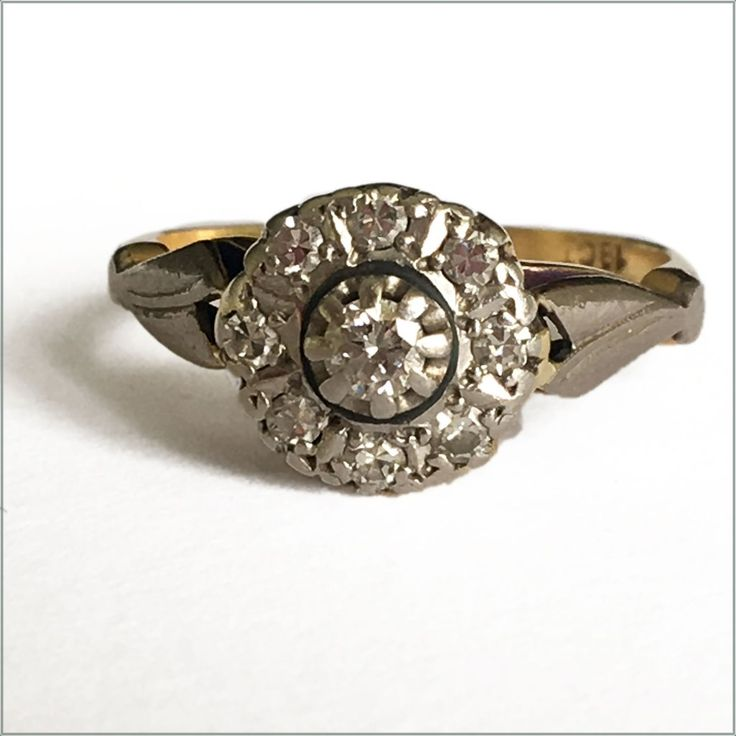 Vintage diamond 18ct yellow gold and platinum ring