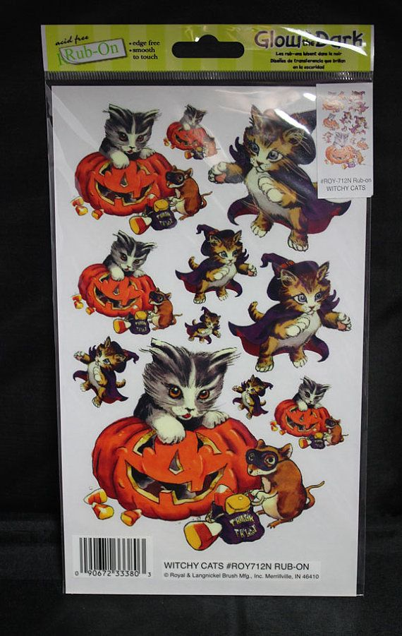 Halloween Rub-ons - Witchy Cats - Glow in the Dark -  - Scrapbooking & Card Supplies via Etsy