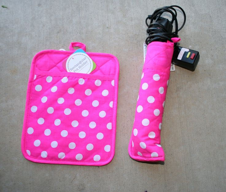 Make a cover for curling iron from a hot pad - so you can put it away without waiting for it to cool. This would be great at home or for traveling.