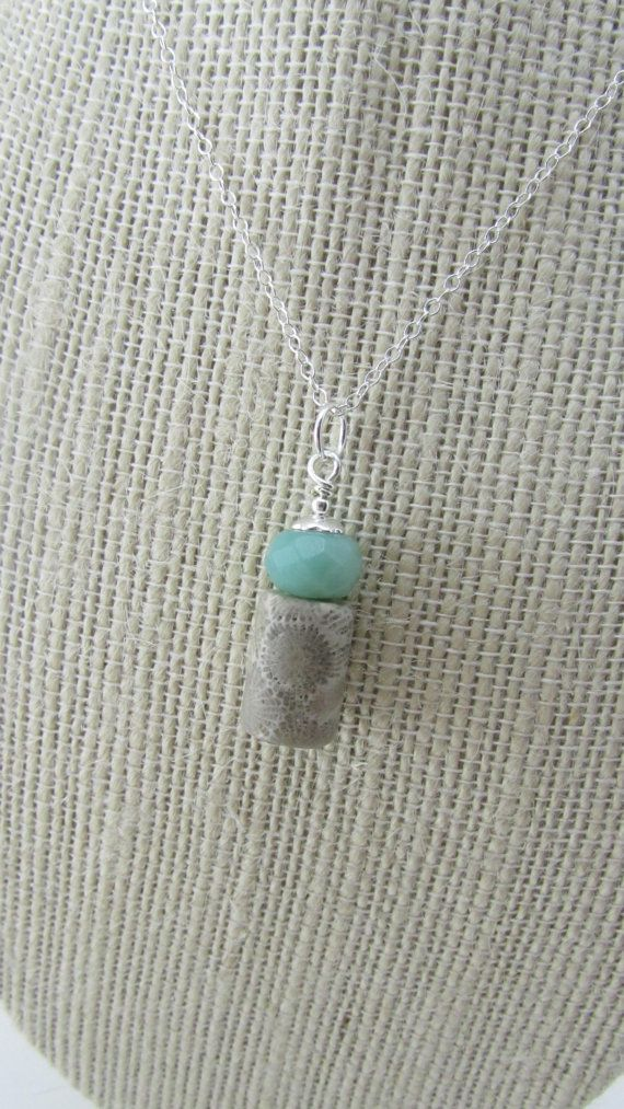 Amazonite and Petoskey Stone Sterling Silver by theglassbird