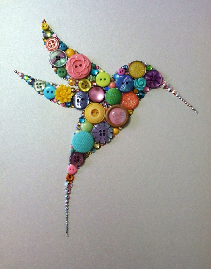 Button+Hummingbird+Button+Art+&+Swarovski+Crystal+by+BellePapiers,+$89.00