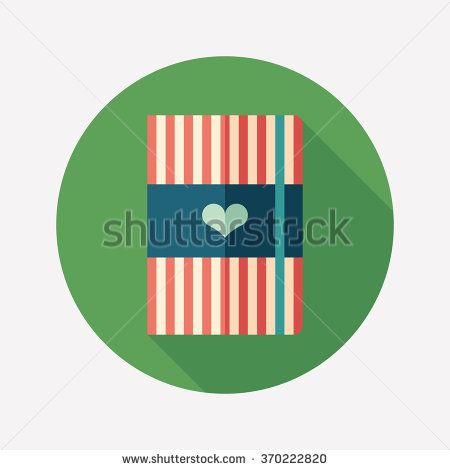 Striped notepad with heart flat round icon with long shadows. #love #loveillustration #flaticons #vectoricons #flatdesign