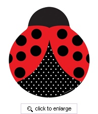 "Black and red 9"" Lady Bug Fancy Shaped Dinner Plates"