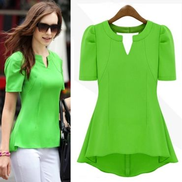 New Style Woman V Neck Short Sleeve Solid Green Chiffon Candy Color Blouse