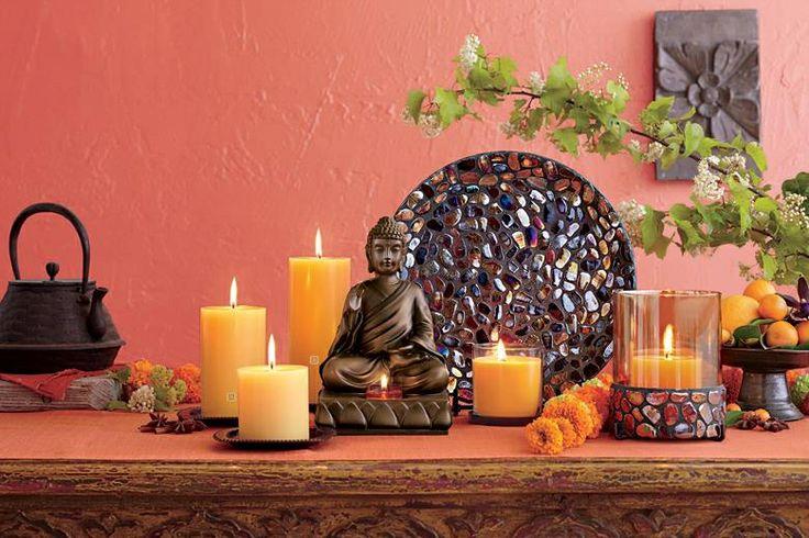 Kerzenhalter Buddha, Kunstharz mit Bronze-Dekor. BxTxH: 15x15x23 cm. Für Teelichter. www.susannerentsch.partylite.ch