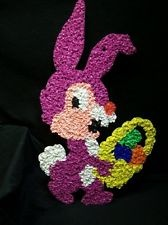 PURPLE BUNNY RABBIT EASTER Melted plastic popcorn decoration vintage basket eggs
