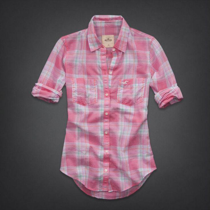 Hollister! New Womens Light Pink Green Plaid Button-Down Shirt Top ...