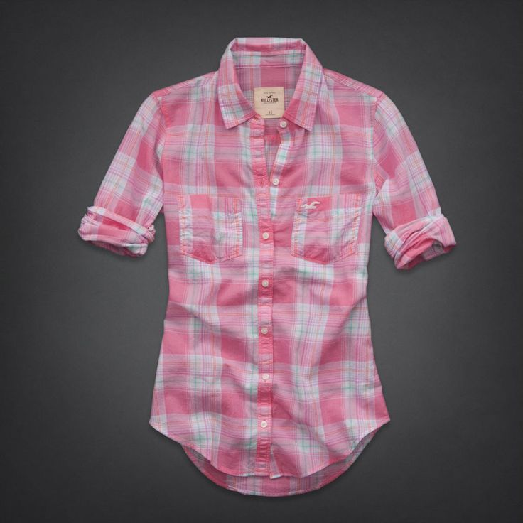 Hollister new womens light pink green plaid button down for Plaid button down shirts for women