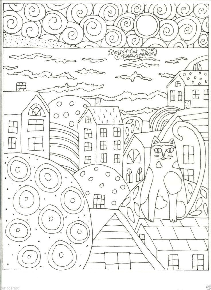 Seaside Cat | Раскраски, Кошачьи лапы, Рисунок