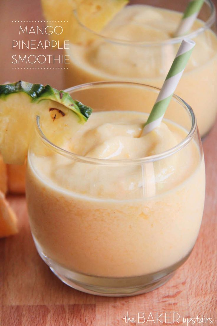 Mango pineapple smoothie from The Baker Upstairs. Such a delicious, refreshing smoothie, and no added sugar! www.thebakerupstairs.com