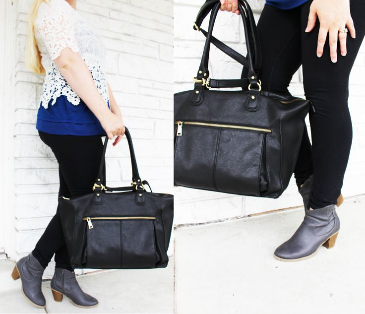 The Lily Tote Diaper Bag in black by Newlie.com