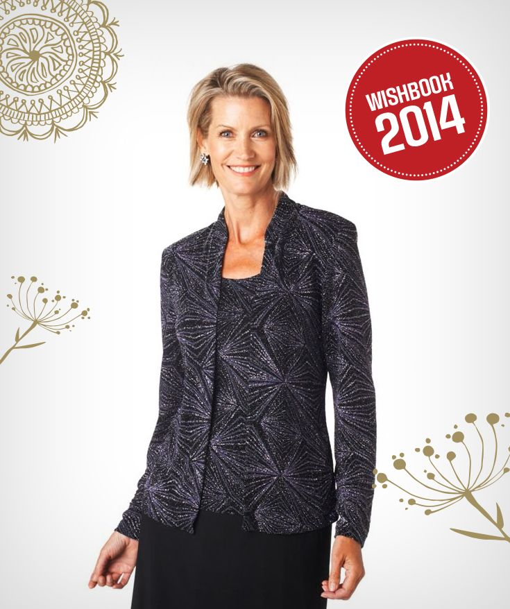 This lovely 1-piece metallic fooler jacket will make a dazzling impression this holiday season.
