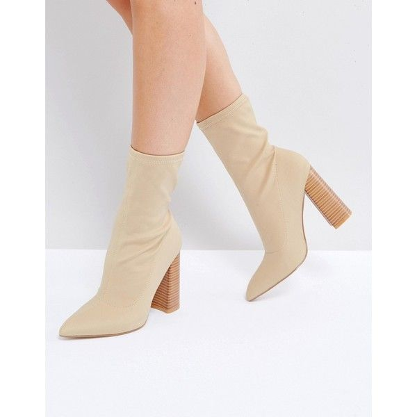 Public Desire Libby Nude High Heeled Sock Boots (€56) ❤ liked on Polyvore featuring shoes, boots, beige, slip on boots, pull on stretch boots, pointed toe boots, beige boots and beige high heel boots