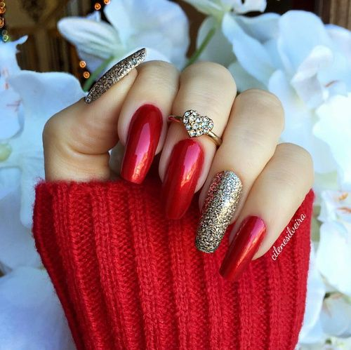 Red Glitter Fake Nails