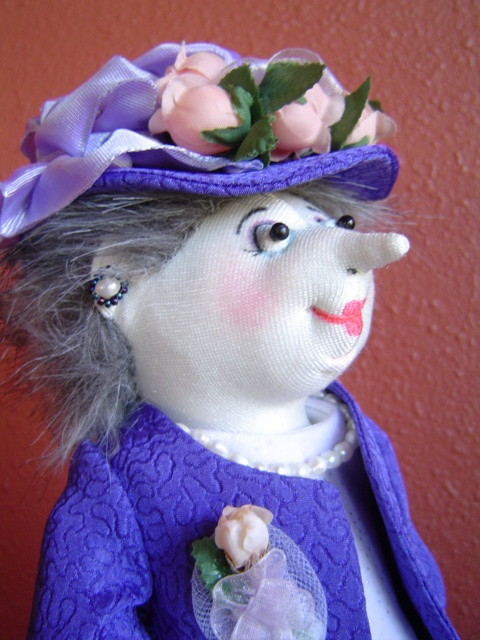 Mother of the Bride close-up  Pattern by Jill Maas  Sculpted cloth doll.