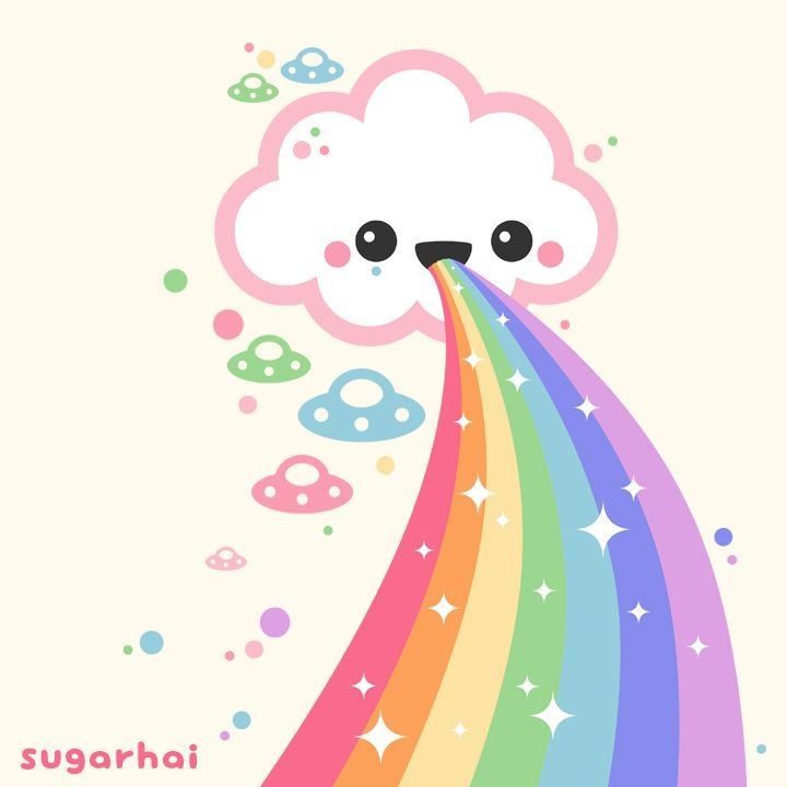 Pastel ufos witness the wonder of rainbow creation cute