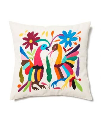 Multi Cotton Embroidered Otomi Pillow Cover » LOVE!