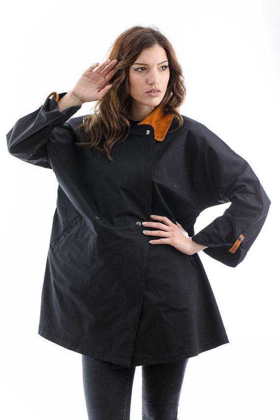 Black Trench Coat black coat spring coat by madecoutureeu on Etsy