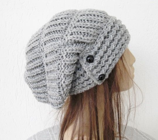 Slouchy Hat Hand Knit Hat- Womens hat - Winter  hat - Womens Beanie -    Slouchy Beanie   Silver Gray  Winter Accessories   Holiday  Fashion on Etsy, $38.00