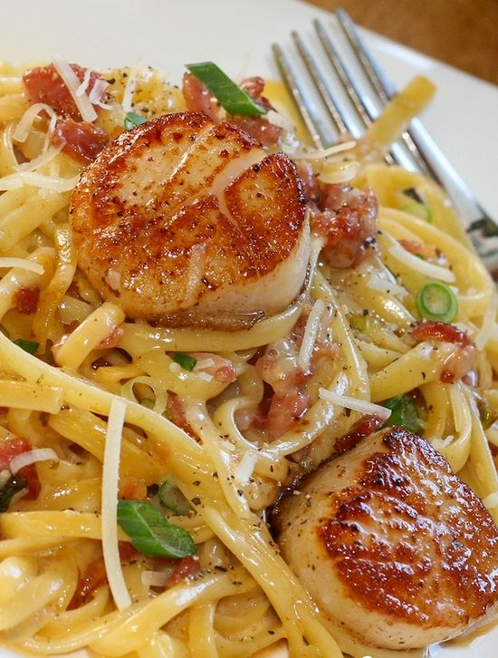 "Carbonara with Pan Seared Scallops. Pinned says ""This is such a quick and simple recipe with gourmet flavor""."