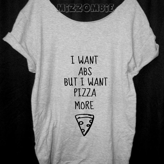 #PIZZA Tshirt Off The Shoulder Over sized loose by Mizzombie, $20.00
