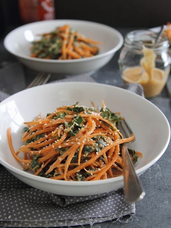 Spicy thai carrot and kale salad - Running to the Kitchen