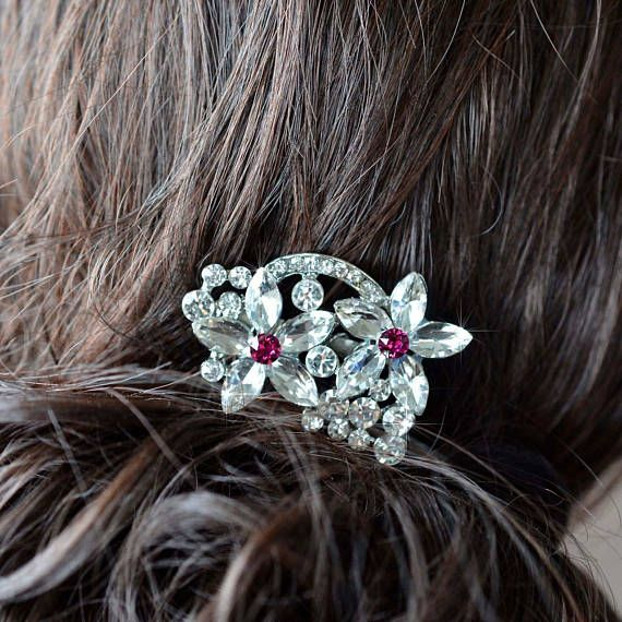 Choose Your Accent Colour -- Small Vintage Inspired Crystal Rhinestone Flower Floral Hair Comb Hair Jewelry, Wedding, Bridal (Sparkle-2833)