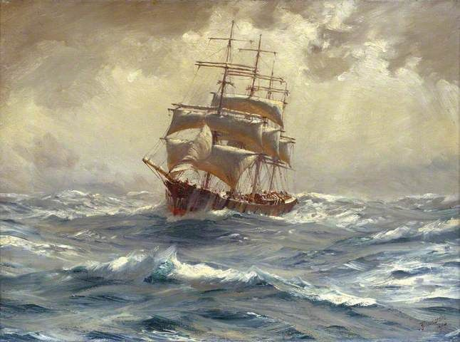 Thomas Jacques Somerscales A Barque Running Before A Gale