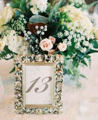DIY Wedding Table Number Ideas- like the look of putting the numbers in different picture frames