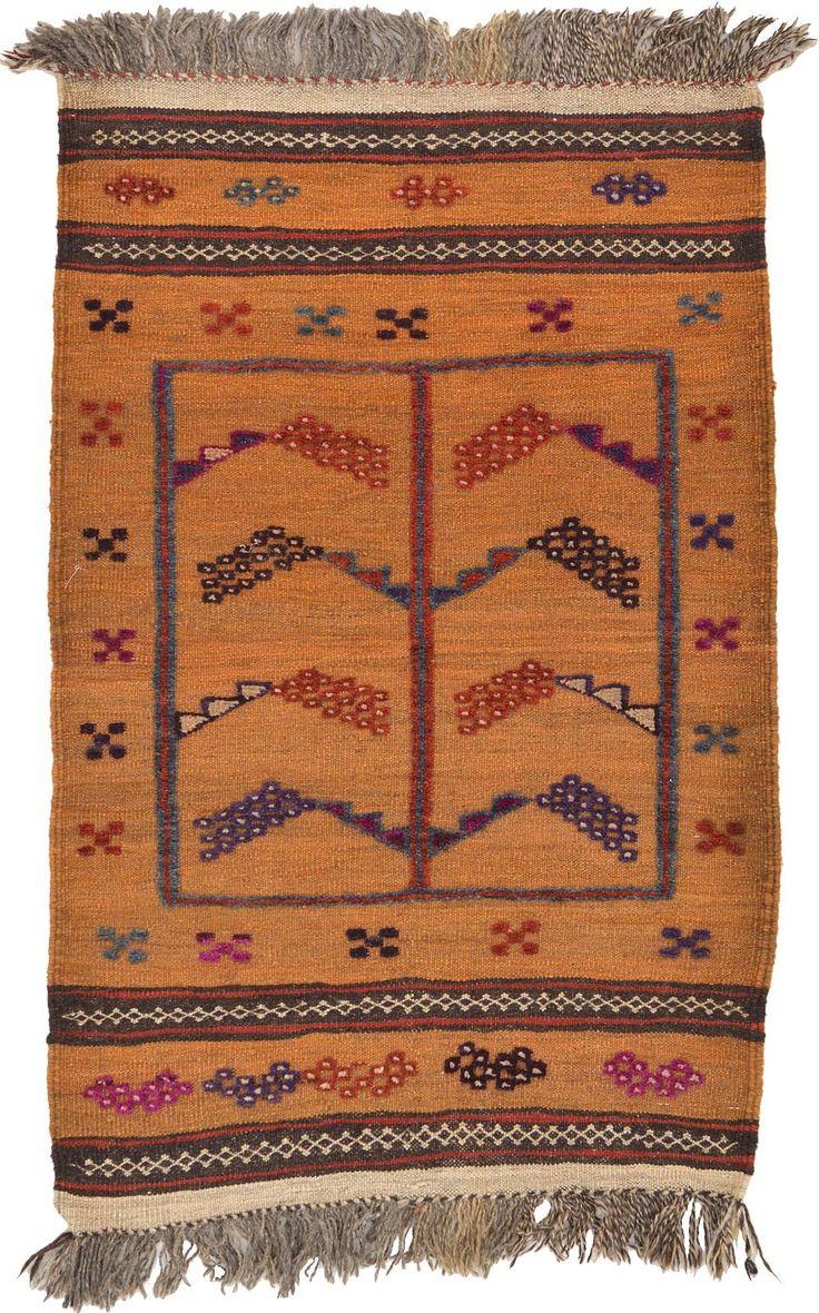 Gold 2' 9 x 4' 4 Kilim Afghan Rug | Area Rugs | eSaleRugs