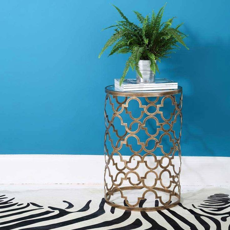 Quatrefoil Metal Side Table |French Side Table inspired by Jean-Baptiste-Camille Corot