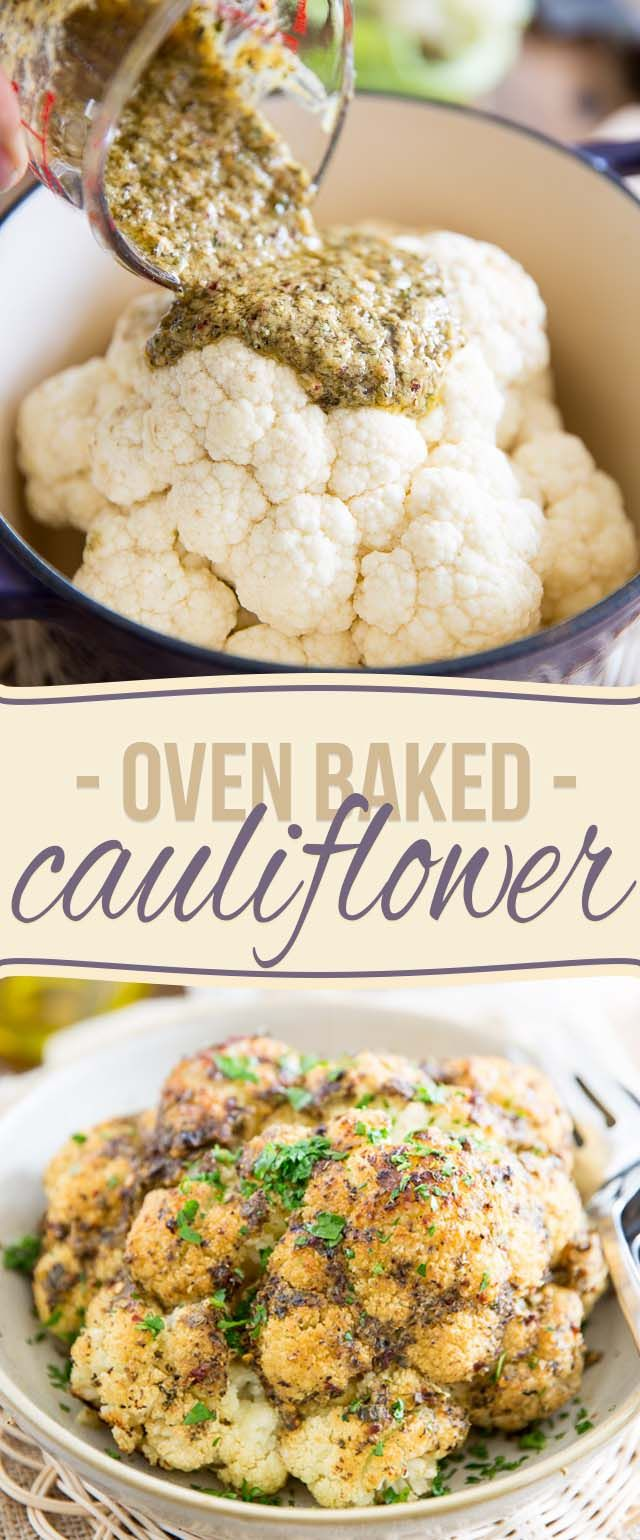 Oven Baked Whole Roasted Cauliflower (try pesto), is the easiest and tastiest way to prepare cauliflower. It'll make you an instant fan, guaranteed!