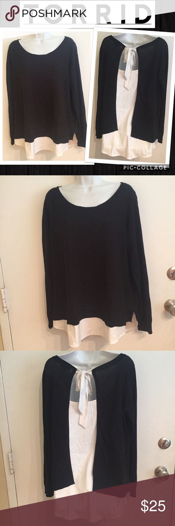 Torrid Faux Layered Tie Back Top Torrid Faux Layered top with black sweater material with open back and white Silky Faux layer with tie at back of the neck. Size 0x. #torrid #faux #layered #top #sweater #bow #tie #plus #plussize #punkydoodle  No modeling Smoke free home I do discount bundles torrid Tops