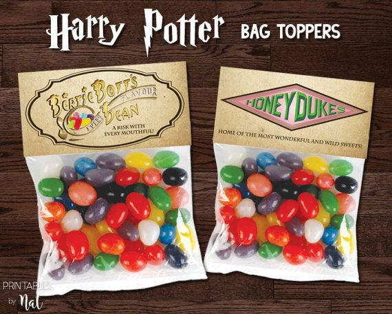 Harry Potte Bag Topper, Honeydukes, Bertie Botts Every Flavor Beans, Party Favor, Decorations, Birthday, Candy, Printable,