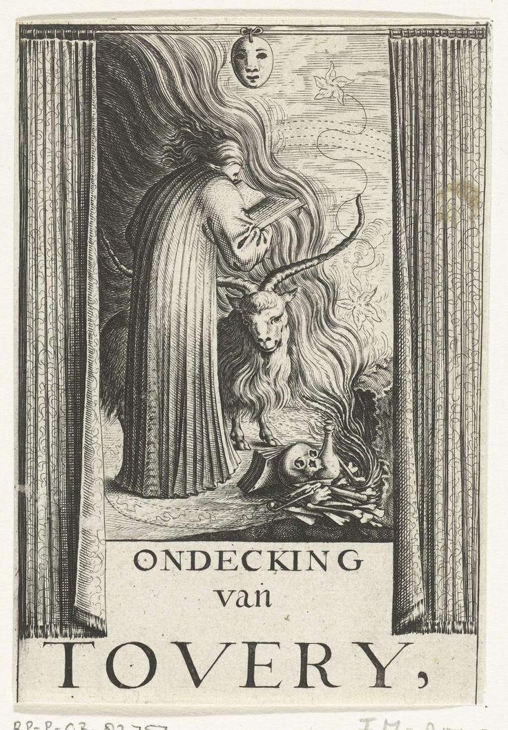 unknown | Titelpagina voor: Ondecking van Tovery, unknown, 1638 - 1699 | Titelpagina voor: Ondecking van Tovery. Een voorover gebogen tovenaar met boek, geit, masker en vuur, tussen opengetrokken gordijnen. Onderdeel van een groep bladen in verband met de uitgave in 1691 van het boek: De betoverde weereld, van Balthasar Bekker.