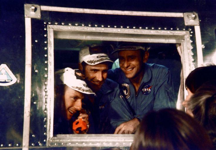 Apollo 12 Pete Conrad (left), Dick Gordon, and Al Bean in the quarantine van. 24 November 1969.