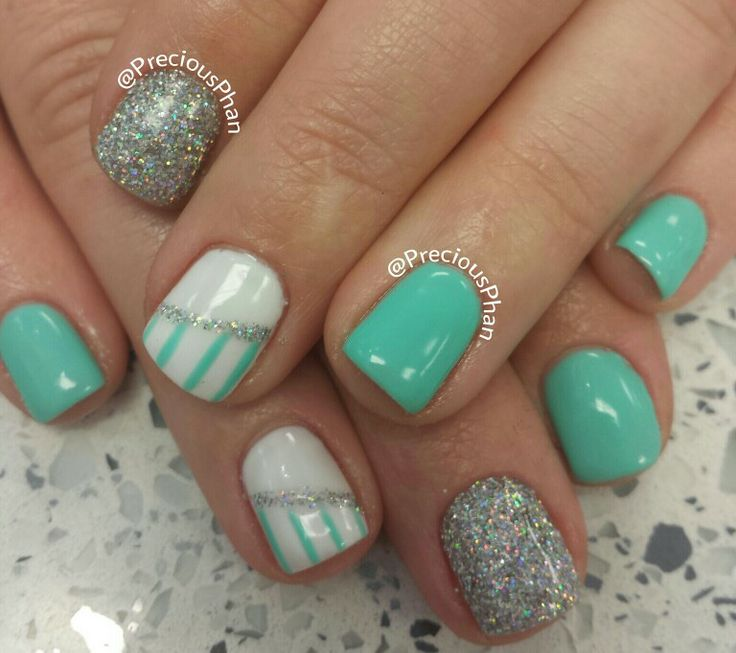 Mint Green Prom Nail: Mint Green, Glitter Nails
