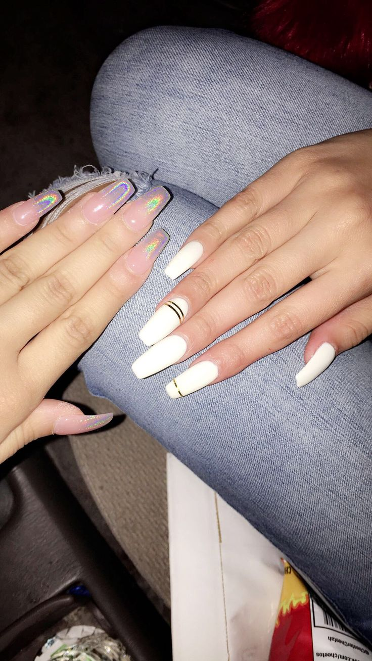 Holographic Ombre nails and white long Coffin shape nails ...