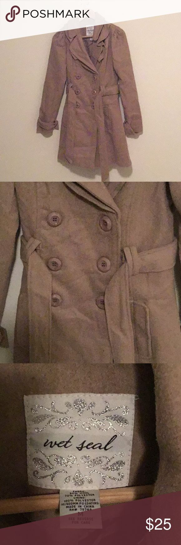 Brown Trench Coat Brown trench coat, wool and polyester, never been worn, great condition Wet Seal Jackets & Coats Trench Coats