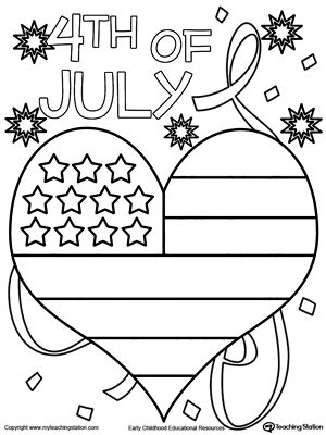 4th of july heart flag coloring page - Coloring Page For Kindergarten