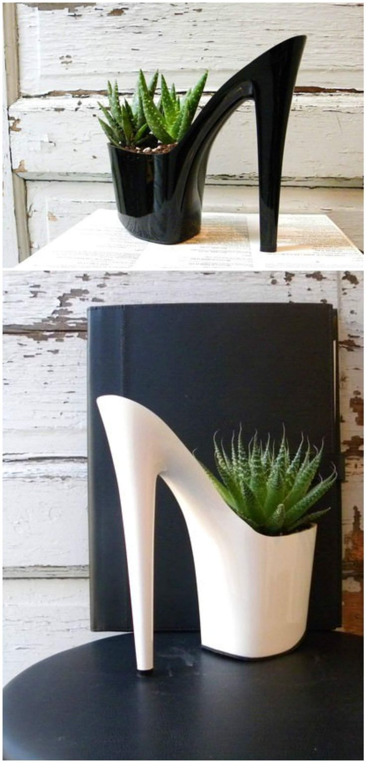 Unique diy home garden decor with a shoe planter and succulents -  Planter Shoes Succulent Upcycled These Shoes Are Used