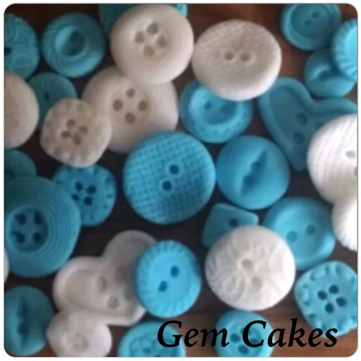 Edible baby Shower christening Blue and White Vintage buttons  cupcake toppers decorations for Boys