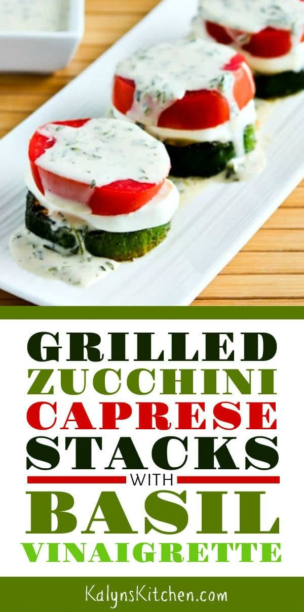 Grilled Zucchini Caprese Stacks with Basil Vinaigrette