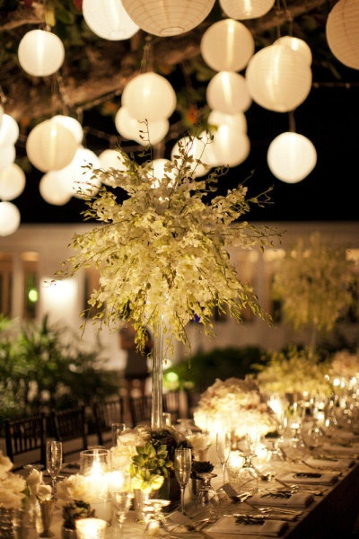 White lanterns & lights. Love.