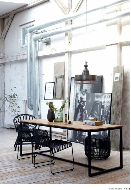 Beautiful narrow dining table with a metal base from House Doctor. Shop Dining tables with Creative Home Co