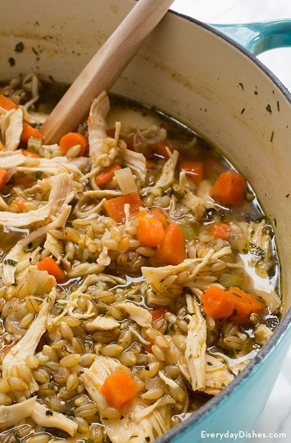 Hearty chicken and barley soup recipe..This soup was delicious...I increased the amount of carrots and celery, and used pasta instead of barley, which I didn't have on hand...made a double batch.