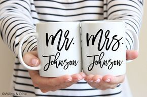 Personalized Coffee Mugs Personalized Mr and Mrs Mugs Set of 2 Couple Mugs Wedding Mugs Engagement Gift Wedding Gift for Couples W0011 by WillowAndOlive on Etsy