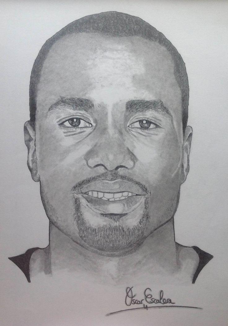 Serge Ibaka.  Retrato a carboncillo.  Más en pennybrush.es